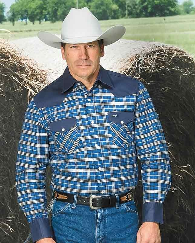 793118491d Wrangler Cowboy Cut Blue Plaid Western Work Shirt This classic work shirt  is made to withstand the hard work of a rancher with a distinctly Western  style.