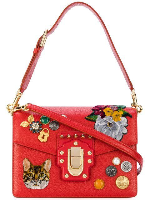 83d24f09beff DOLCE   GABBANA Lucia Patch Shoulder Bag.  dolcegabbana  bags  shoulder bags   hand bags  stone  velvet  leather