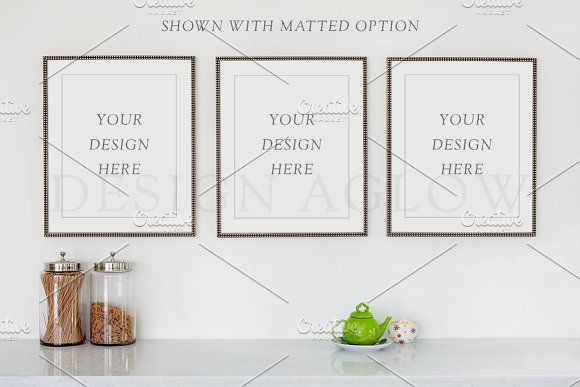 Three Frames Wall Gallery Mockup by Design Aglow on @creativemarket ...