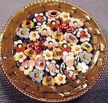 Millefiori  Mosaic Button  Large Over 1inch  diameter.