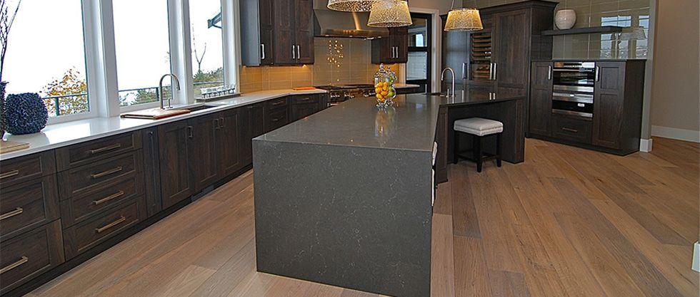 Natural Walnut Kitchen Island In Summit New Jersey: Caesarstone Piatra Gray 5003- Kitchen Island With