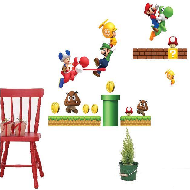 Vinilos decorativos para superficies lisas del Super Mario, ideal para niños y no tan niños amantes de la saga.