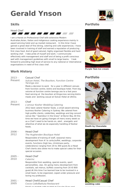 Casual Chef Resume Example  Chef Resumes Examples