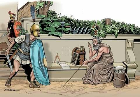 Muerte De Arquímedes 212 A C ángel Todaro Arquímedes El Gran Matemático Griego Murió Grecia Antigua Guerras Púnicas Soldados Romanos