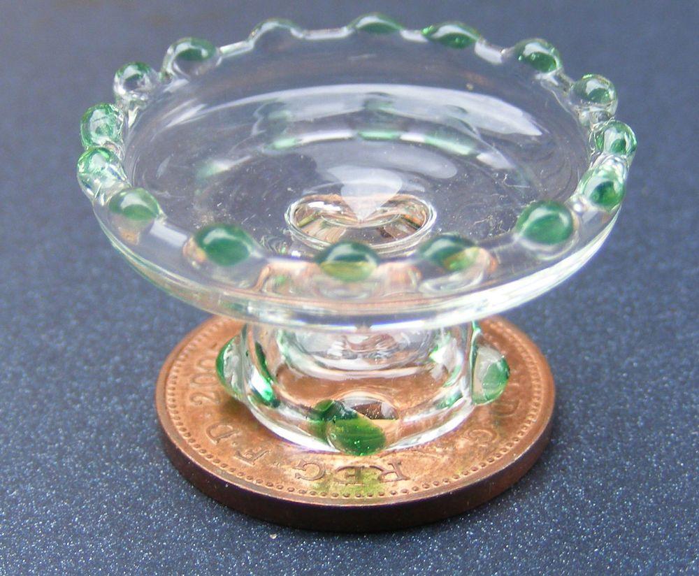 Dollhouse Phil Grenyer Three Leg Cranberry Glass Bowl Artisan Miniature