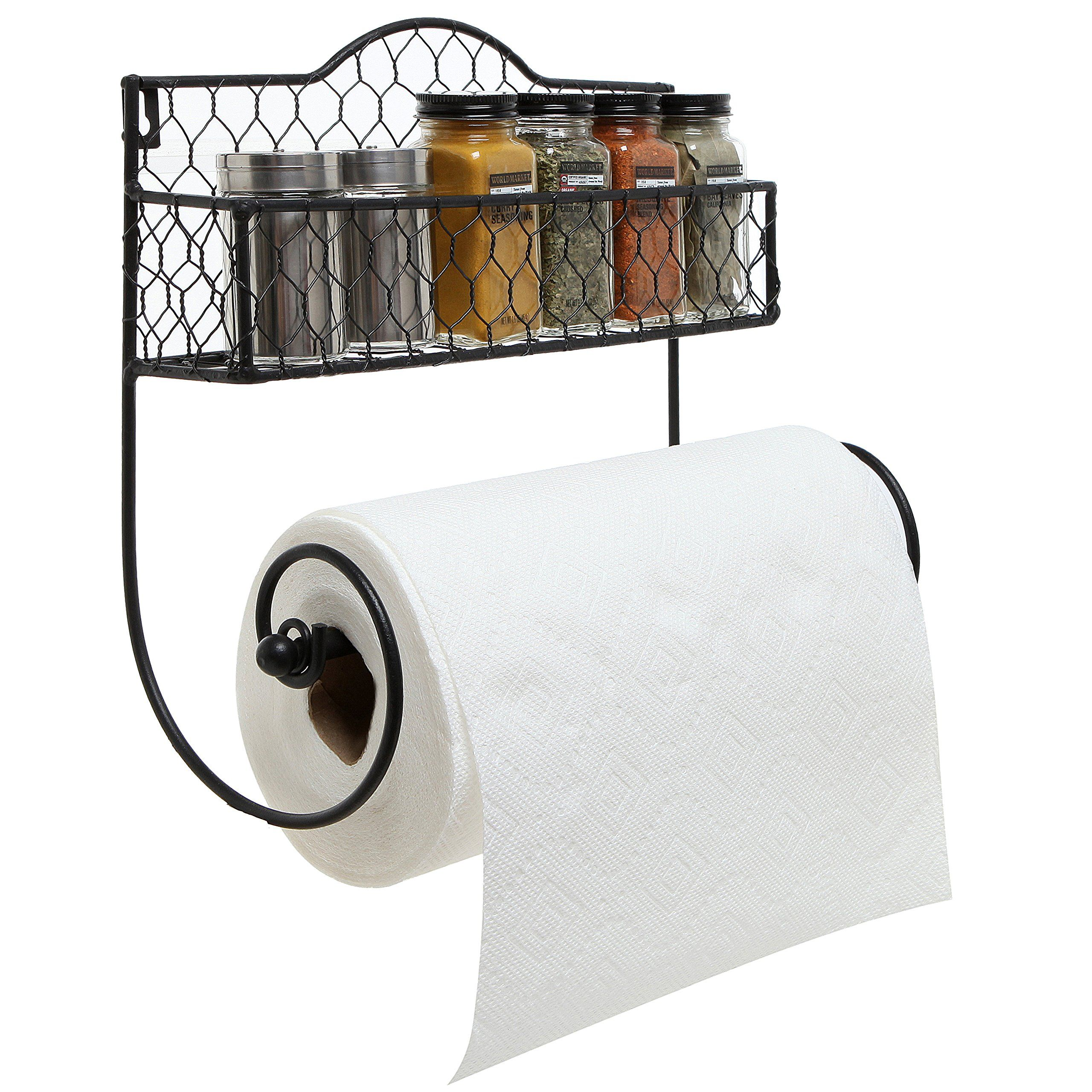 Mygift Wall Mounted Rustic Black Metal Kitchen Spice Rack And