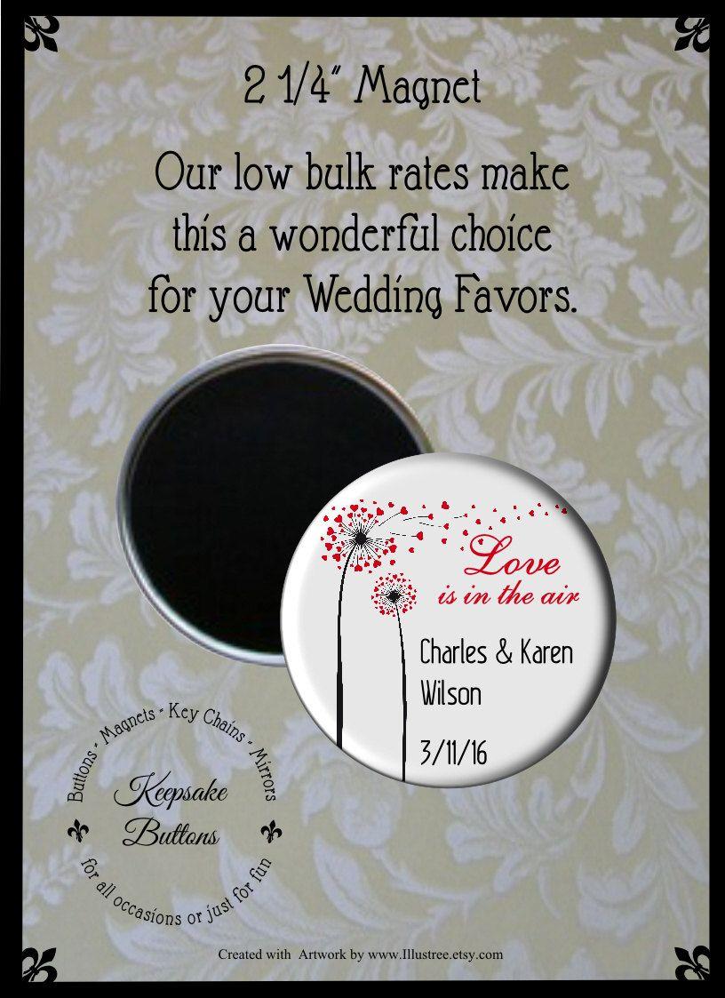 225 Custom Wedding Magnet Wedding Favors Love Is In The Air