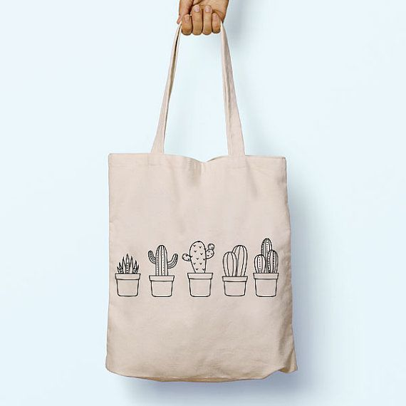 Cactus Cacti Plant Illustration Drawing Cotton Shopper Model Tote Canvas Bag Shopping Gym Books Tumblr Funny Joke Boy Girl Sack Cotton Gift