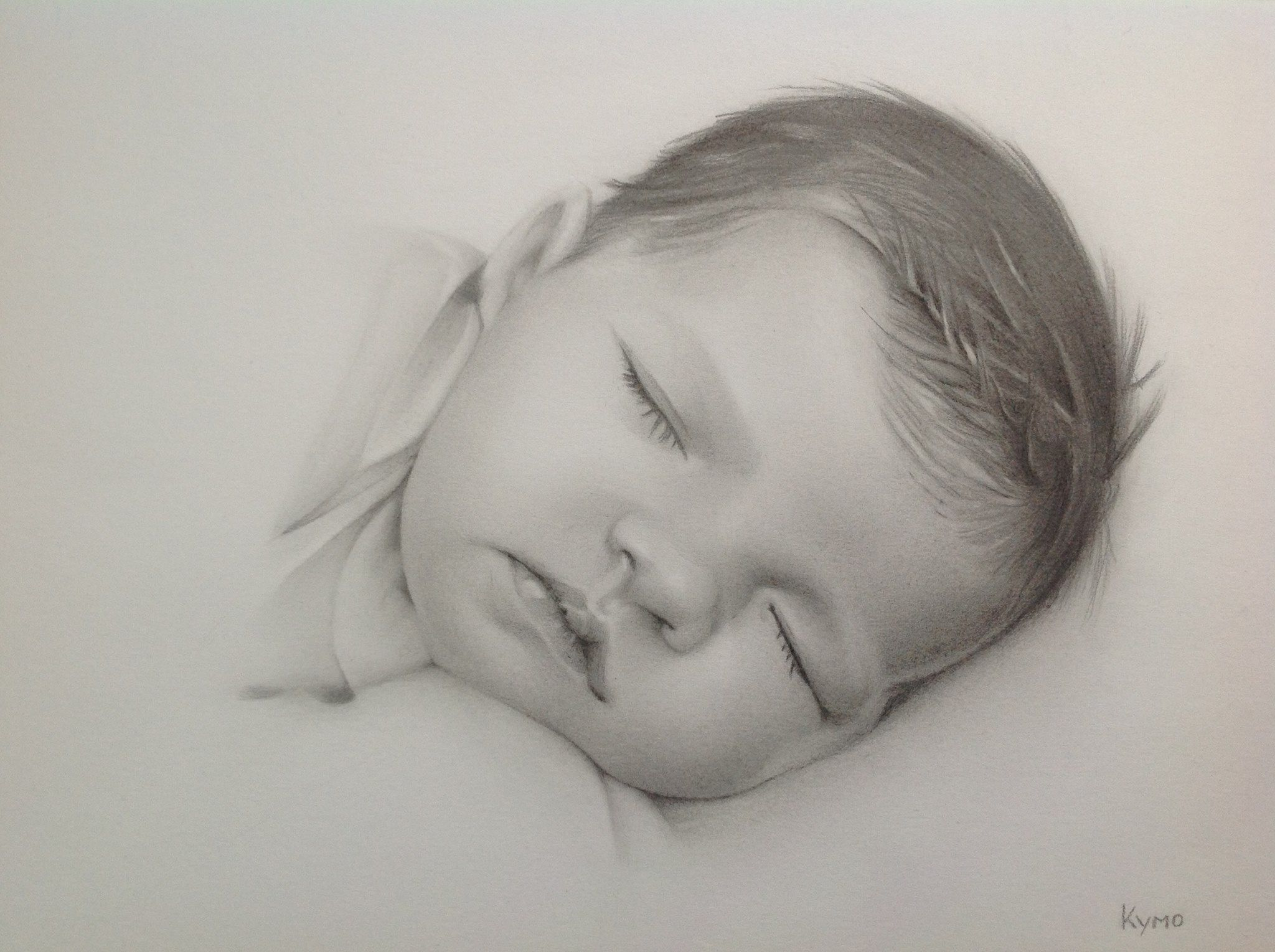 Pencil baby portrait made by kymo art