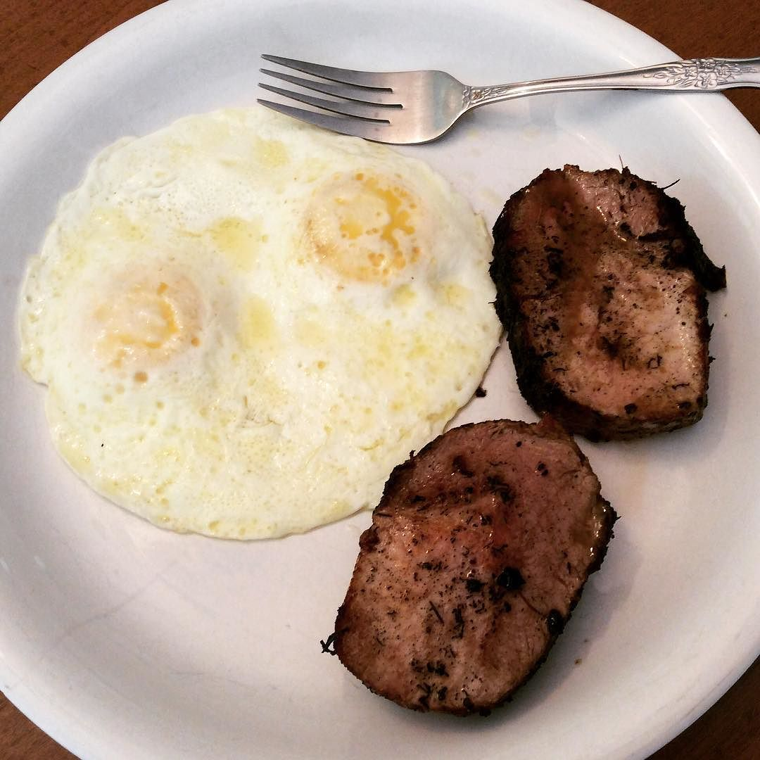 Pan Seared Oven Roasted and then sliced and Pan Seared again to finish Pork Loin Roast with Farm Fresh Eggs. That's what's for Lunch!! #shabbyboutique #lowcarb #lowcarbs #lowcarbstyle #highfat #keto #ketogenic #ketodiet #porkloin #porkloinroast #farmfresheggs #eggs #brunch #lunch #lunchtime #healthy #healthyliving #healthylife #healthychoices #healthylifestyle #breakfast by jewelsimonson