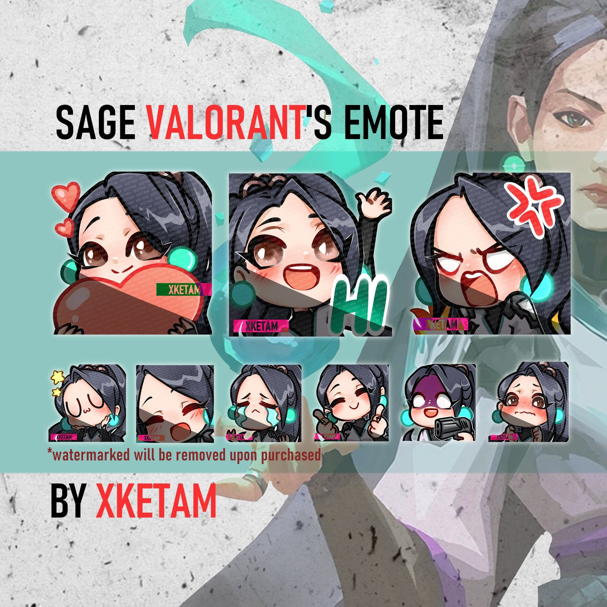 Valorant Emotes SAGE set for Twitch Youtube Discord etc