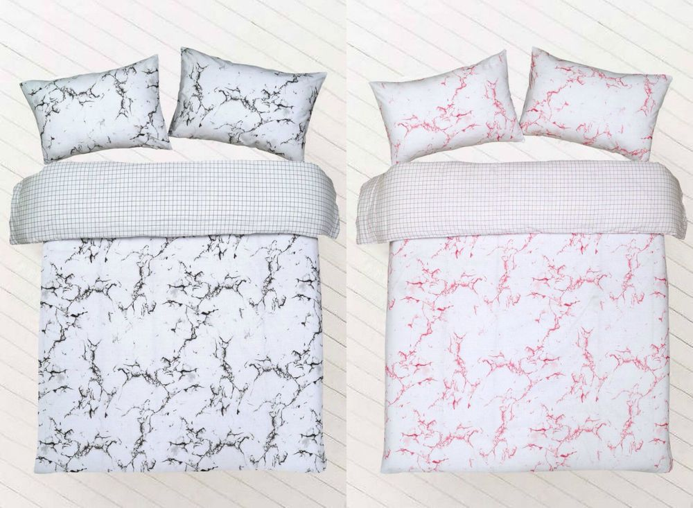 Duvet Quilt Cover With Pillowcase Reversible Bedding Set All Size