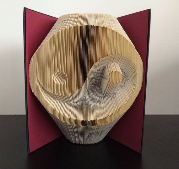 folded book art sculpture yin yang by bookfoldingaustralia. Black Bedroom Furniture Sets. Home Design Ideas