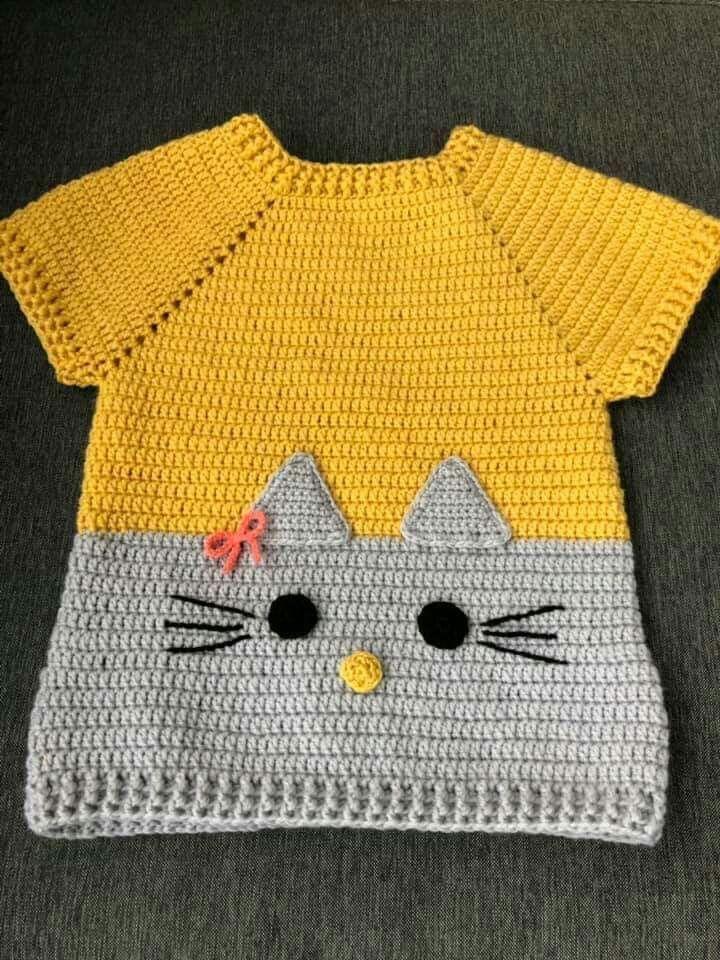 T-Stück oder Sweatshirtinspiration… Knöpfe u. Applikation #crochetbabycardigan