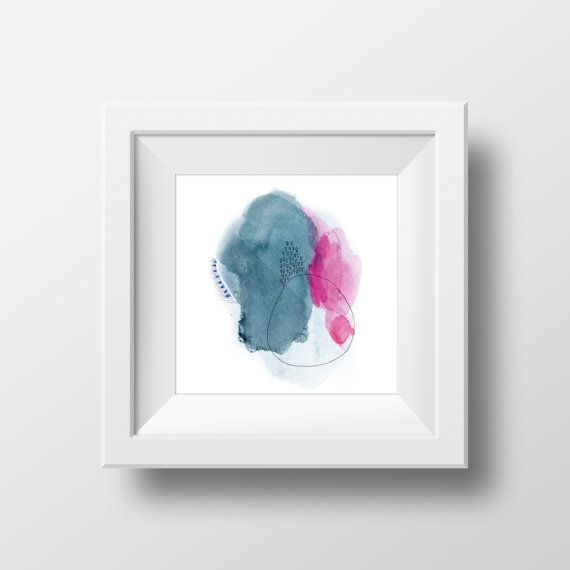 Large Abstract Print. Pink and Blue Abstract by AdriLunaStudio