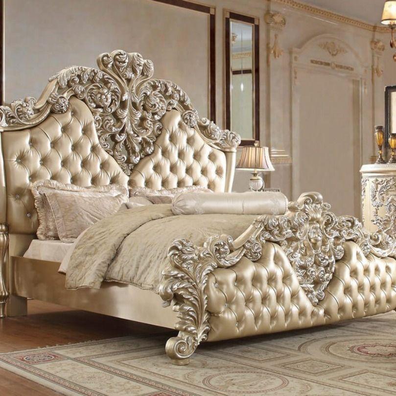 Gold Wood California King Bed By Homey Design 3 150 00 Victorian Bedroom Furniture King Bedroom Sets
