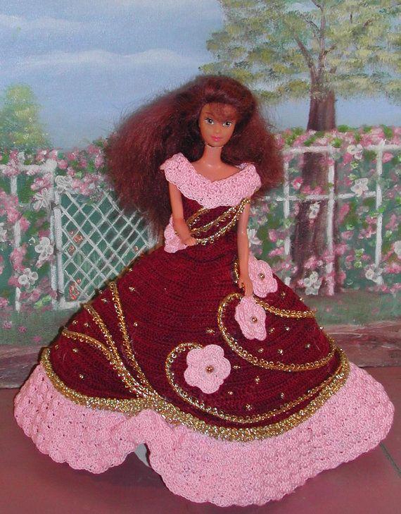 Crochet mode poupée Barbie patron 129 DINE par JudysDollPatterns