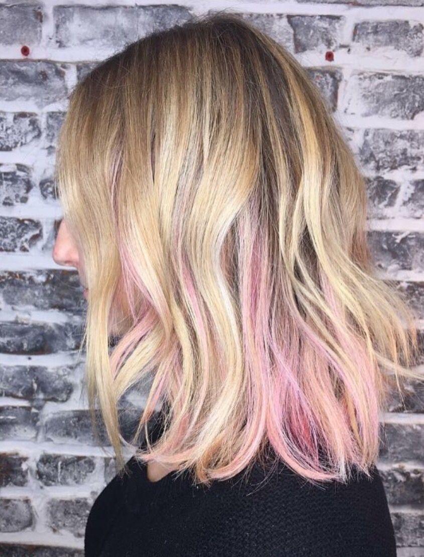 Peekaboo Pink Highlights Ellerizzles Pink Blonde Hair Peekaboo Hair Light Pink Hair
