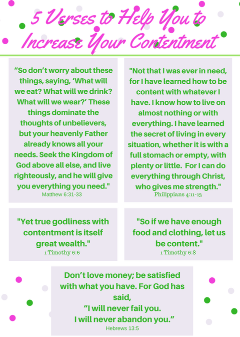 For most of us, contentment is an elusive quality. We want to be contented people, living contented lives. But, so few people are truly pleased and satisfied with their lives. So, how can we increase our contentment? This article offers 5 Bible verses and 5 prayers for more contentment in our lives. Why not drop by to check it out?