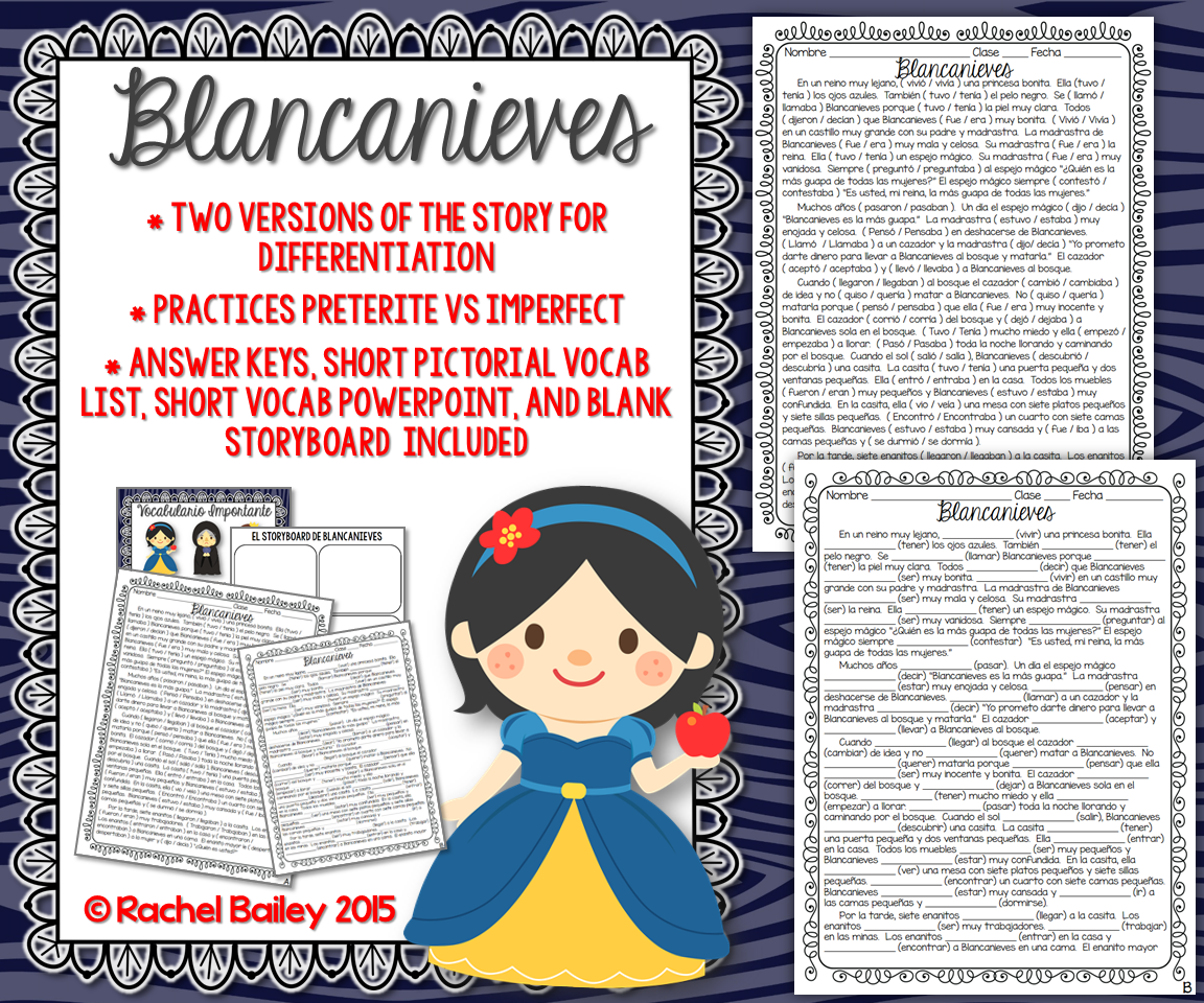 Preterite Imperfect Story Worksheet BlancanievesSnow White – Preterite Vs Imperfect Worksheet with Answers