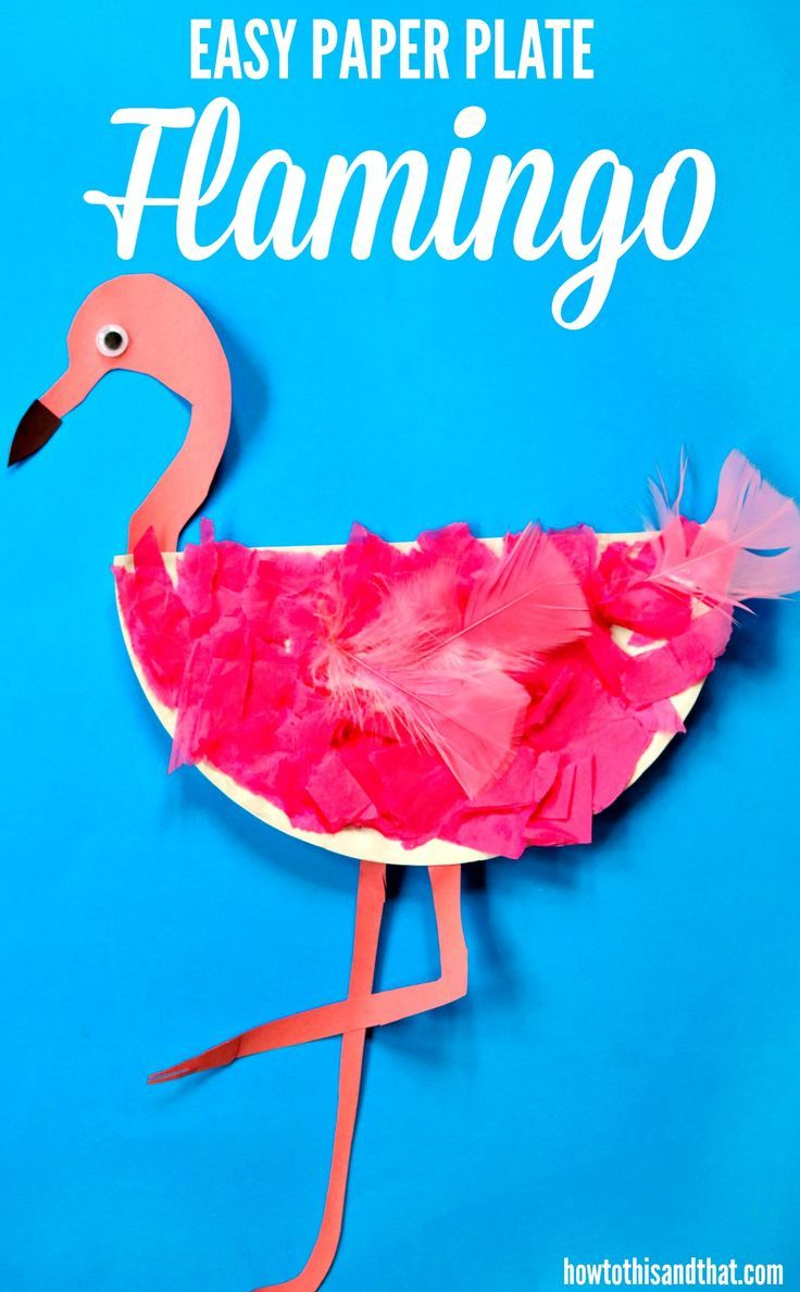 this easy paper plate flamingo craft requires very few materials