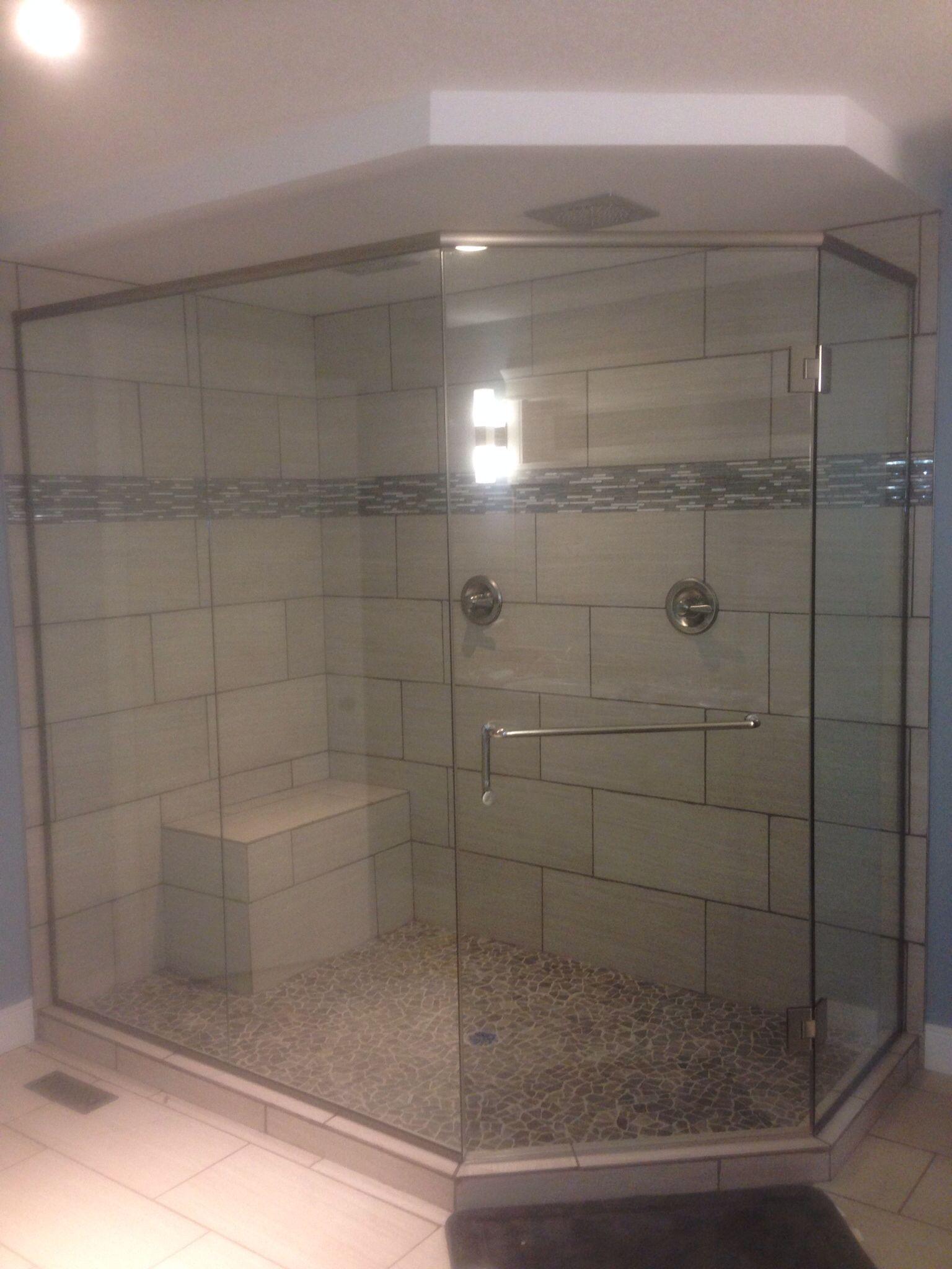 Full view neo angle shower enclosure Dual flush mounted rain head ...