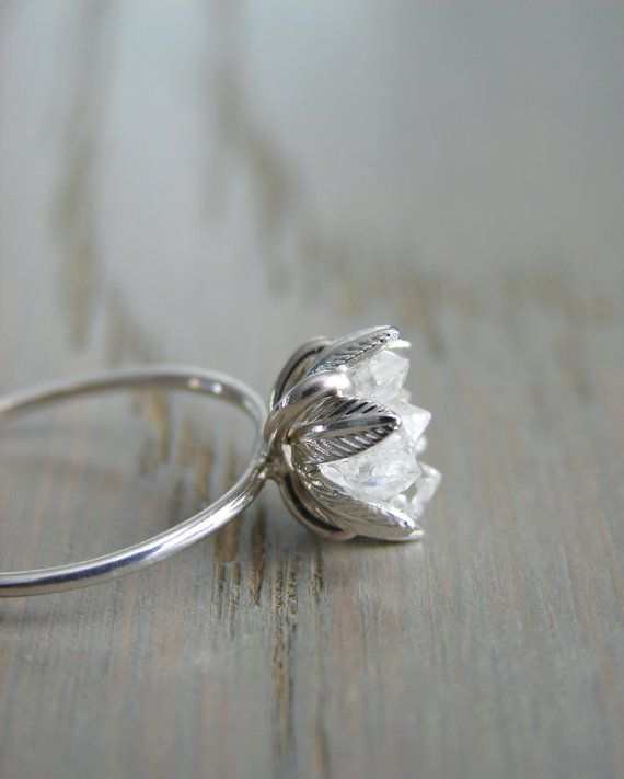 Raw Herkimer Diamond Ring Wedding Day Gift For Woman Raw Crystal