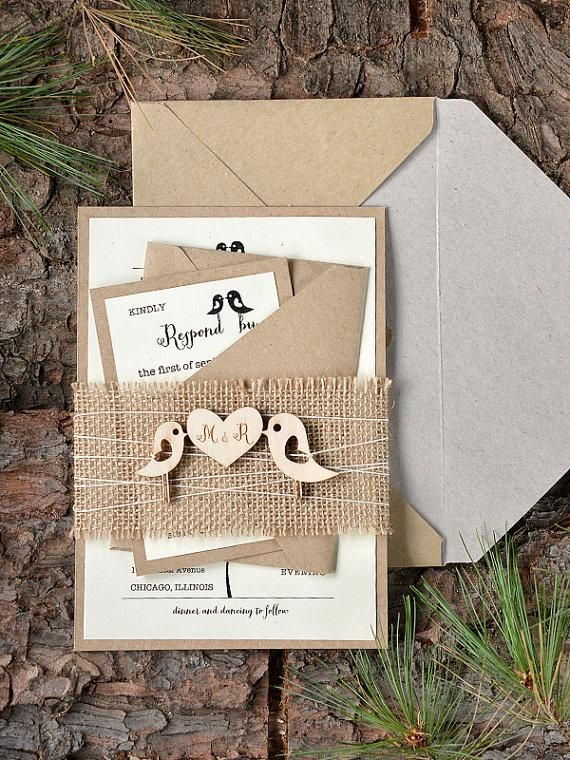 Custom listing (20) Rustic Wedding Invitation, Birds Invitation, Burlap Wedding Invitations , Wood Wedding Invitation,  4lovepolkadots