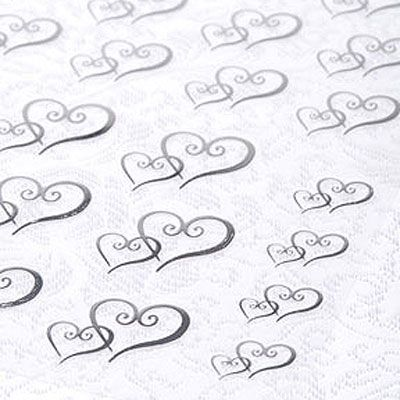 Two Hearts Wedding Theme Silver And Clear Double Heart Sticker