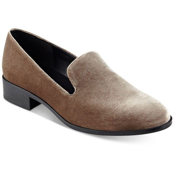 Marc Fisher Traycee Block-Heel Loafers ($70) ❤ liked on Polyvore featuring shoes, loafers, vicuna velvet, slip-on shoes, marc fisher footwear, slip on shoes, block heel loafers and slip on loafers