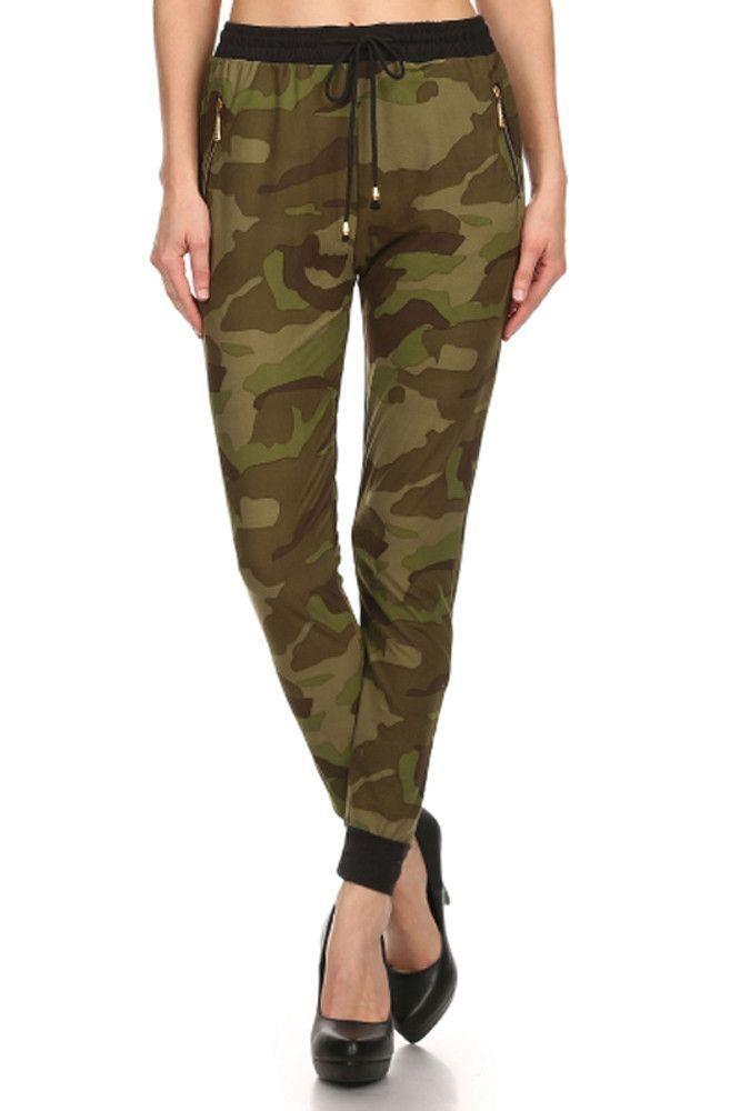 Banded Waist Drawstring Joggers Military Army Printed Comfy Pant