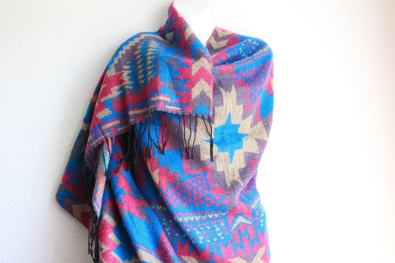 Bohemian Tribal Poncho Scarf Boho Chunky by myfashioncreations, $38.00