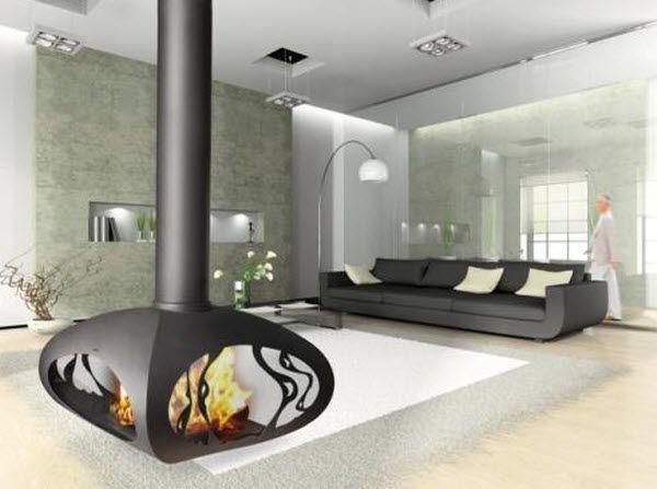 chemin e suspendue contemporaine foyer ouvert bois. Black Bedroom Furniture Sets. Home Design Ideas