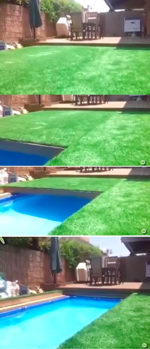 Retractable Grass Covered Swimming Pool Backyard Pool Swimming