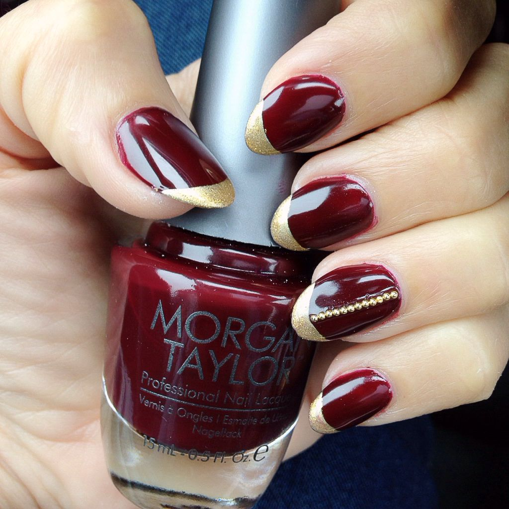 Morgan Taylor Take the Lead polish with gold metallic French tips ...