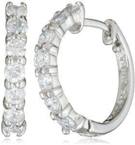Sterling Silver And Simulated Diamond Hoop Earrings