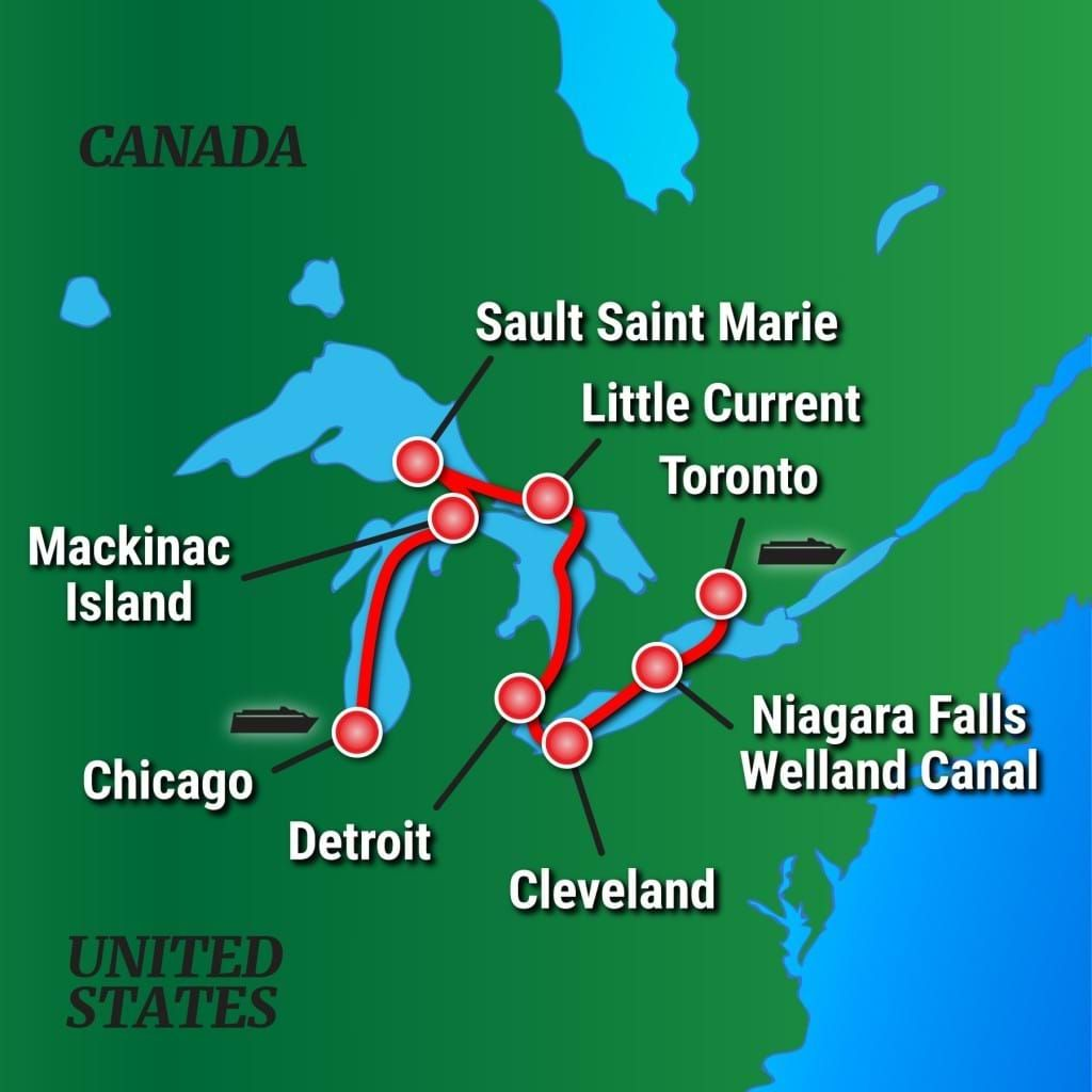 Great Lakes Grand Discovery Itinerary Map