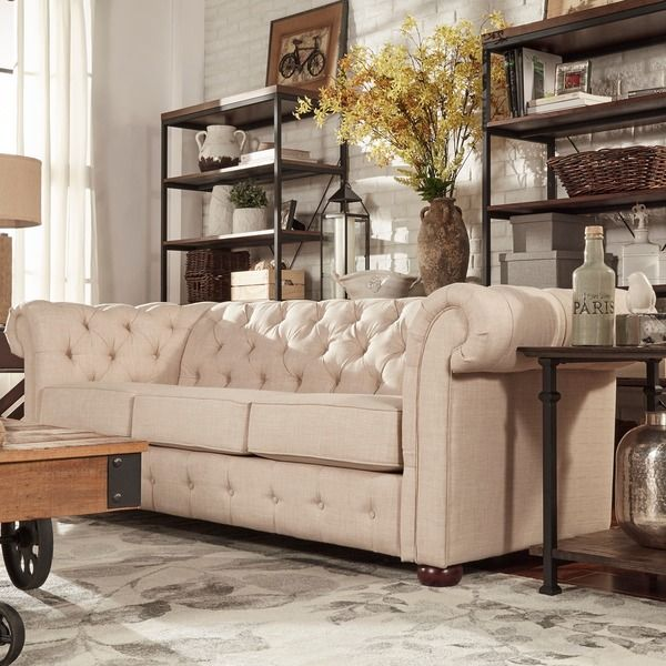 Tribecca Home Knightsbridge Beige Linen Tufted Scroll Arm Chesterfield Sofa Ping Great Deals On Sofas Loveseats