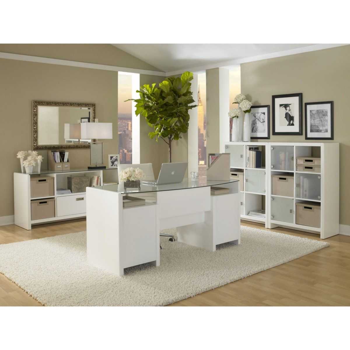 Kathy Ireland Office By Bush Furniture New York Skyline 63 In Double Pedestal Desk With