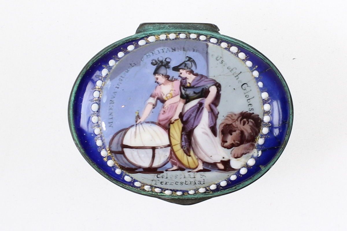 An Extremely rare bilston Patch Box Depicting Minerva instructing Britannia of use of the Globes celestial and Terrestrial Country: UK Dimensions: 4cm x3.5cm Circa: 1770