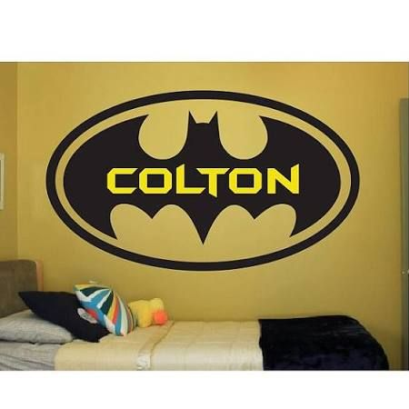Batman Wall Decal - Personalized Name Wall Decal - Bat Boy Wall Art ...