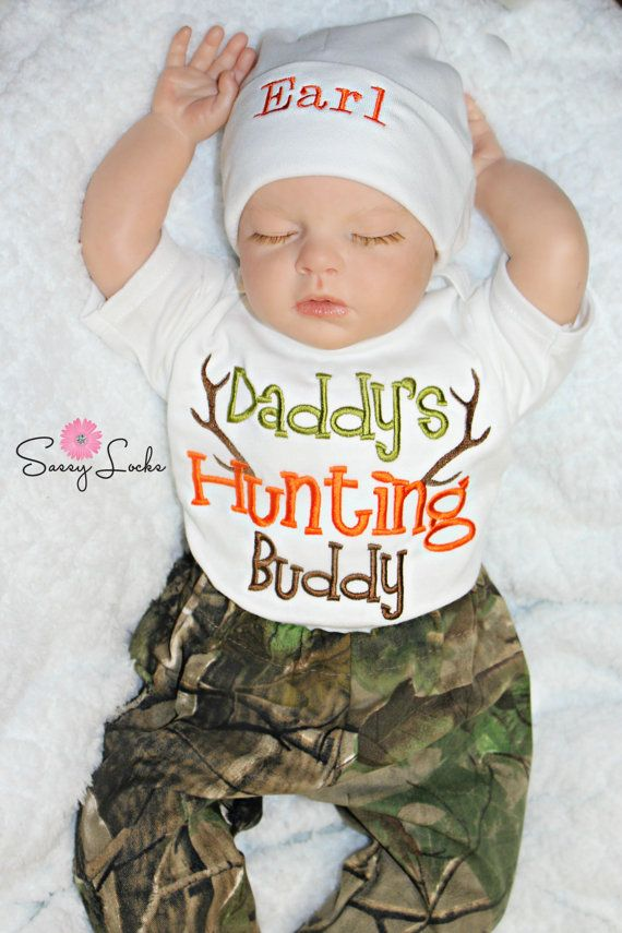 92a76ad18ffc Baby Deer Hunting Baby Boy Newborn Take Home Outfit Stag Hunting ...