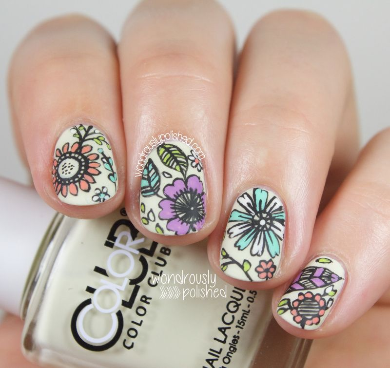 Guest Post for Very Emily - Intricate Floral Nail Art | Color club ...