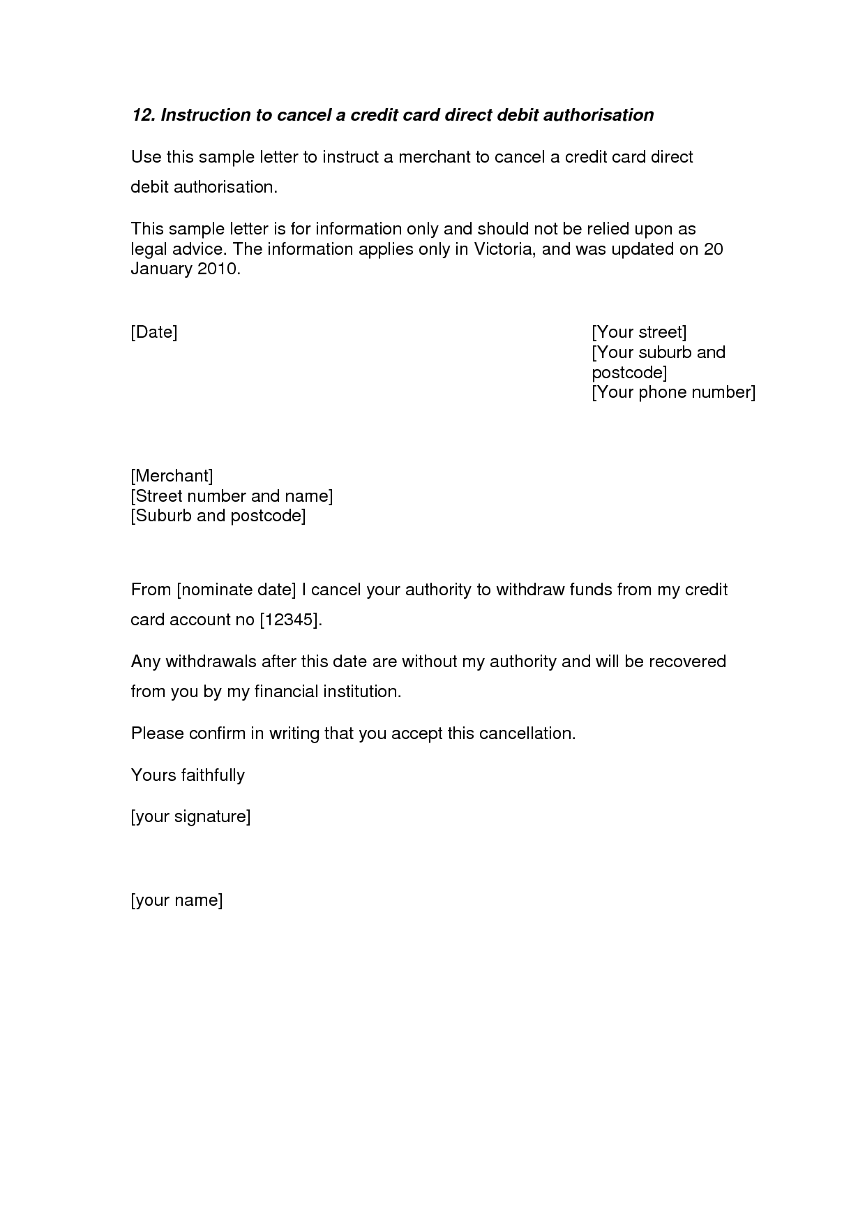 Credit Card Cancellation Letter  A Credit Card Cancellation Letter