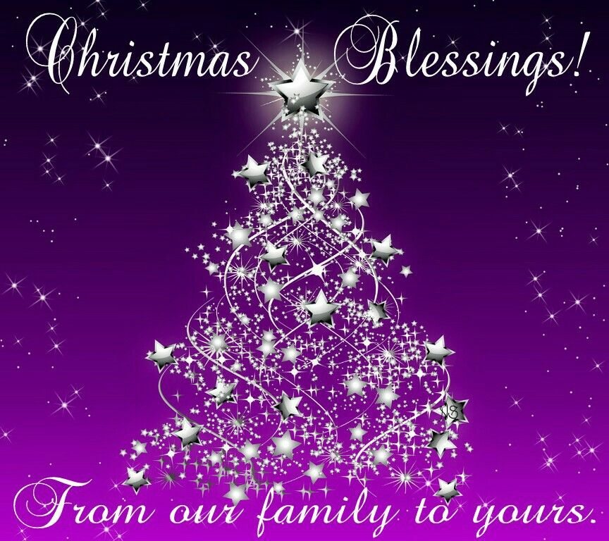 Christmas Blessings From Our Family To Yours Purple Christmas Tree Merry Christmas Pictures Purple Christmas