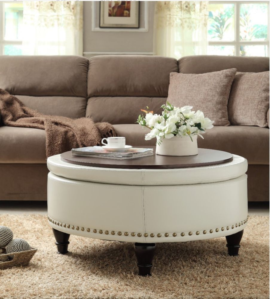 Round Storage Ottoman Furniture Upholstered Tray Coffee Table Faux Leather Wood Gardens Home