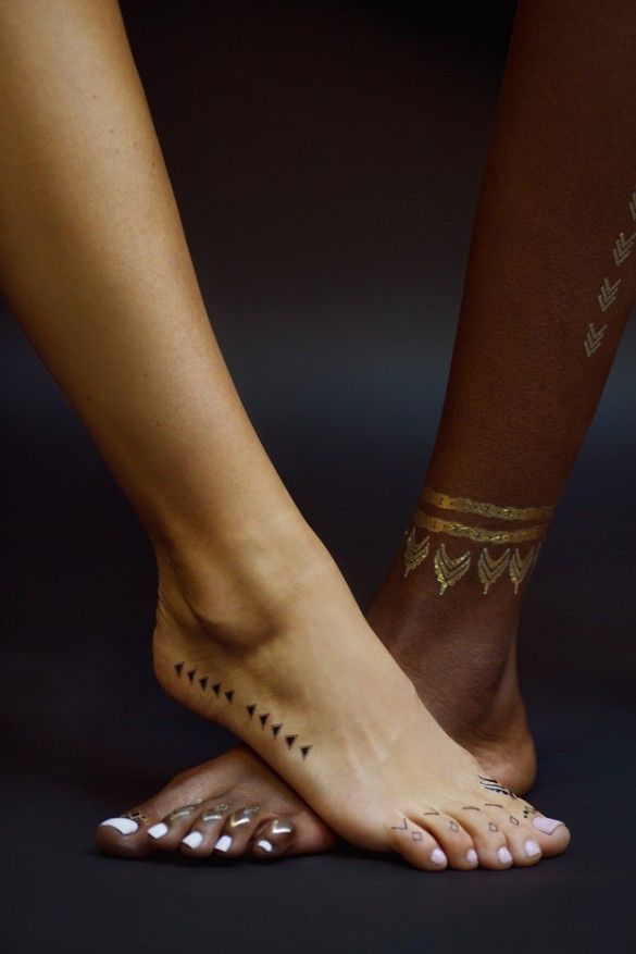 Rihanna And Jacquie Aiche Teamed Up For A Badass Collaboration Gold Temporary Tattoo Metal Tattoo Funky Tattoos