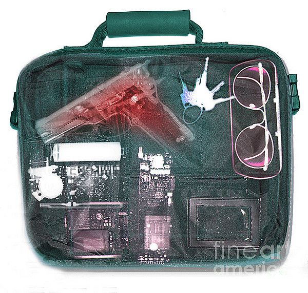 X-ray Of A Briefcase With A Gun Print by Scott Camazine