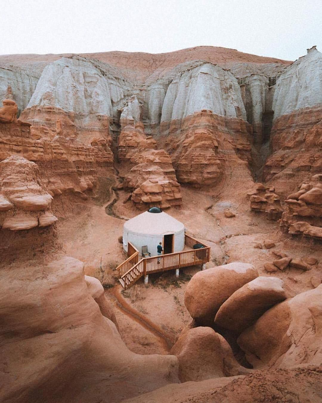 """2,254 Likes, 61 Comments - Parks Project (@parksproject) on Instagram: """"YURT ALERT If you're gonna glamp... These yurts at Goblin Valley State Park are the way to go!…"""""""