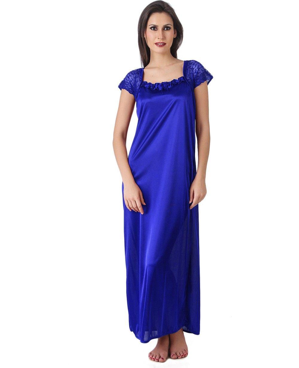 Women Satin Dark Blue Color One Piece Nighty, Night Suit, Night ...